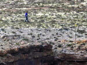 Nik Wallenda, tightrope walk at Little Colorado River Gorge near the Grand Canyon