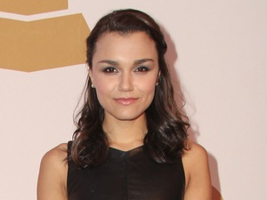 Samantha Barks, black leather dress, The Recording Academy Honors 2013 Gala, 583 Park Avenue, New York