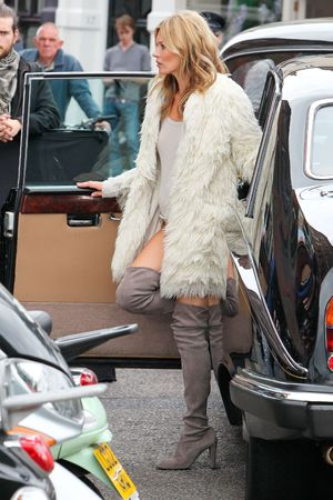 Kate Moss body double, photoshoot, London,  luxury shoe brand Stuart Weitzman