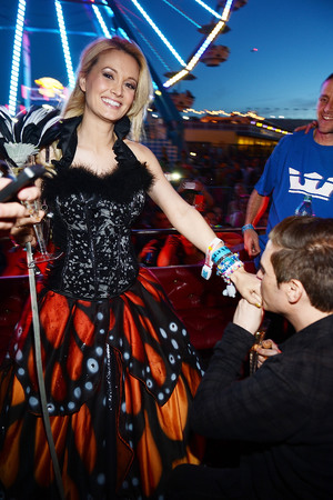 Holly Madison and Pasquale Rotella in front of the Ferris Wheel where he proposed