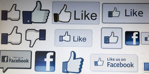Facebook Like buttons on computer screen