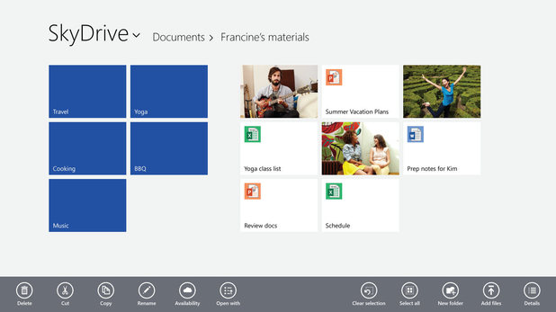 Windows 8.1: In Windows 8.1 Preview, SkyDrive is connected more deeply to your PC or tablet.
