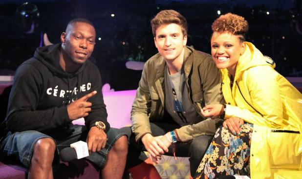 Dizzee Rascal with Greg Jame and Gemma Cairney at Glastonbury 2013
