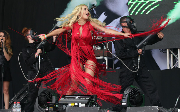 Rita Ora performing on the Pyramid Stage at Glastonbury Festival 2013