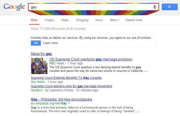 The rainbow effect on Google's search option when the word 'gay' is entered