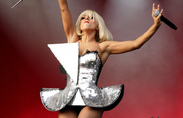 Lady GaGa, performing on the Other Stage during the 2009 Glastonbury Festival at Worthy Farm in Pilton, Somerset.