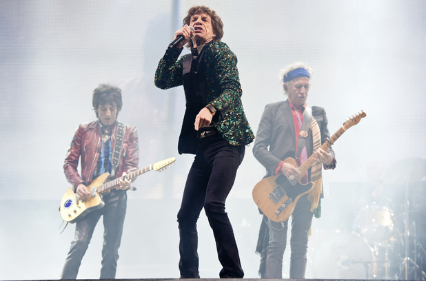 The Rolling Stones' Mick Jagger, Keith Richards and Ronnie Wood at Glastonbury