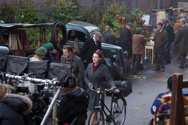 Jessica Raine filming series three of 'Call the Midwife'.