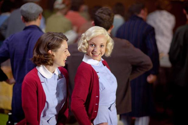 Jessica Raine and Helen George filming 'Call the Midwife'.