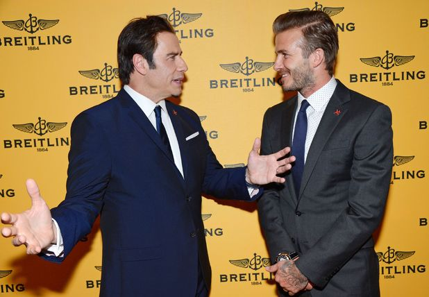 David Beckham and John Travolta at the Breitling flagship store launch, Bond Street, London, Britain