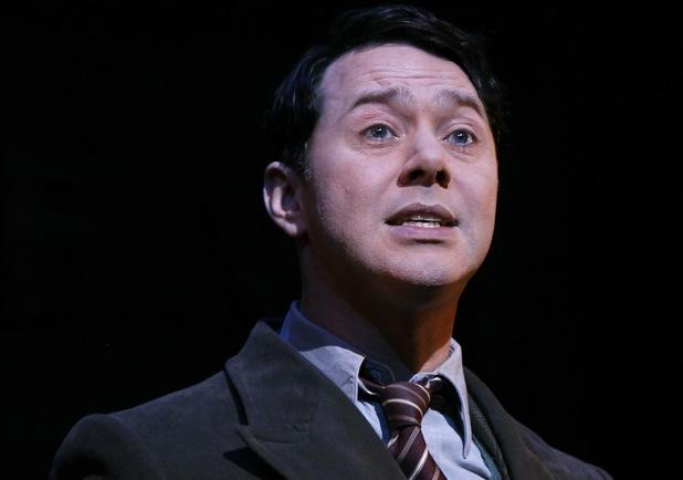 British actor Reece Shearsmith who plays 'Gilbert' performs a scene from Cameron Makintosh's new musical comedy Betty Blue Eyes