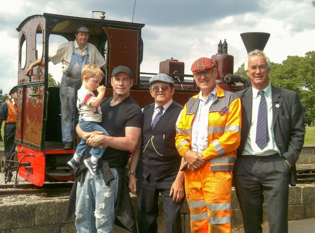 John Travolta visits historic narrow-gauge railway, Leighton Buzzard, Bedfordshire,