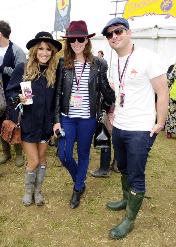 Caroline Flack, Dee Koppang and Dermot O'Leary at Glastonbury Festival.