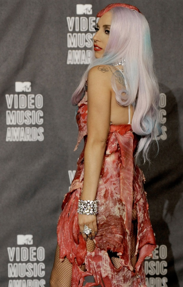 Lady GaGa outdoes herself at the MTV Video Music Awards by wearing an outfit made out of raw meat 2010