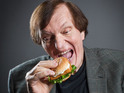 Richard Kiel chomps on a fish burger for Birds Eye.