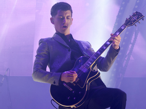 Alex Turner of Arctic Monkeys performing at Glastonbury Festival, at Worthy Farm in Somerset.