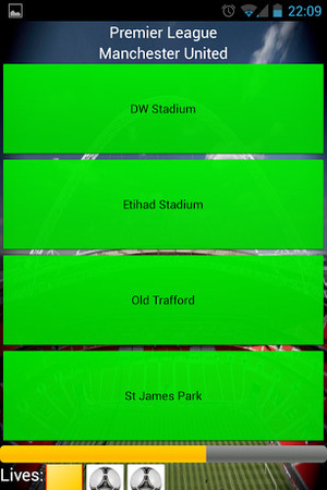 A screenshot of Football Stadiums on Android
