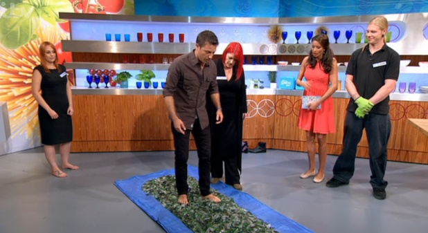 Gino D'Acampo walks over broken glass on 'Let's Do Lunch'