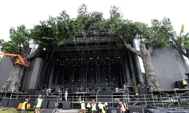 Preparation at Hyde Park for the upcoming Rolling Stones performance