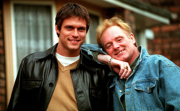 Stephen Billington & Bruce Jones at a Coronation Street photo call in 1998
