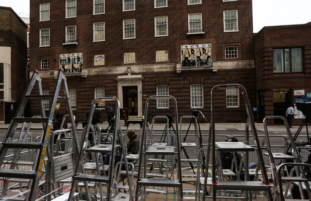 Preparations for the arrival of the baby of the Duke and Duchess of Cambridge outside St Mary's Hospital, London, Britain