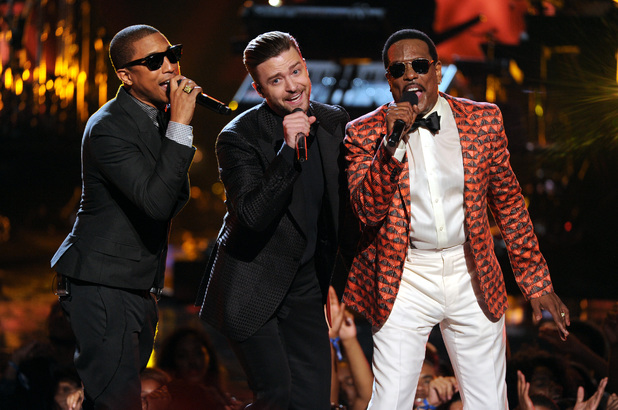 Pharrell, Justin Timberlake and Charlie Wilson at the BET Awards 2013