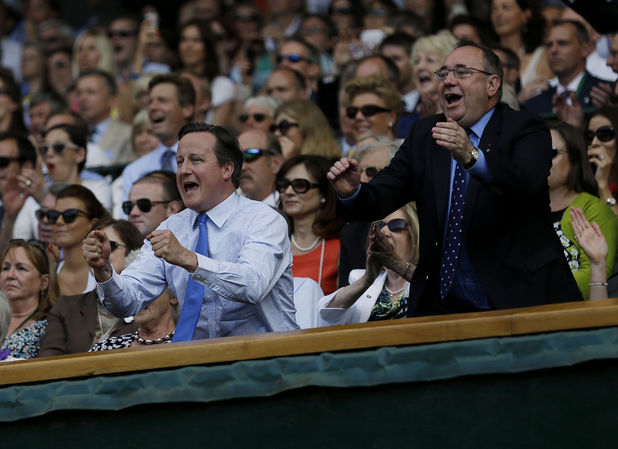 Prime Minister David Cameron and Scottish First minister Alex Salmond at the Wimbledon Men's Final