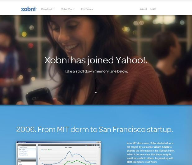 Xobni website screenshot