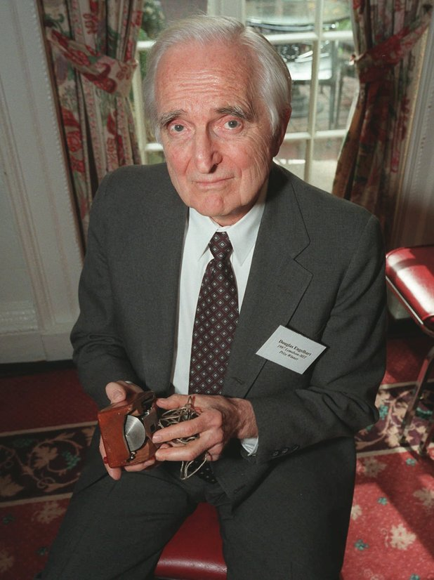Doug Engelbart, the inventor of the computer mouse, pictured in 1997