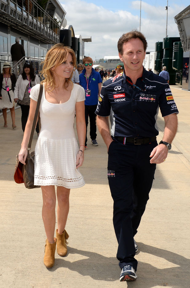 Geri Halliwell with Red Bull team principal Christian Horner