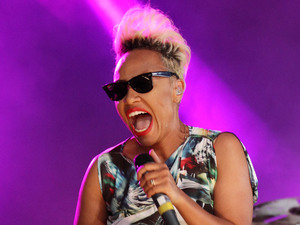 Emeli Sande performing as a guest with Naughty Boy on the Pepsi Max Stage at the 2013 Wireless Festival, July 13