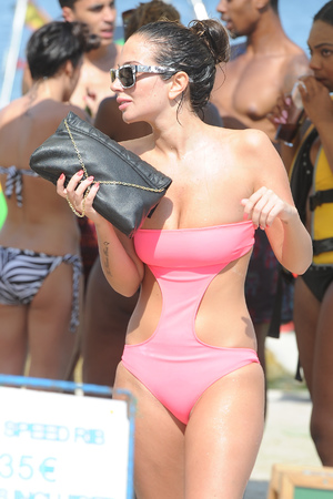 Tulisa Contostavlos, cut-out swimsuit, Ibiza,