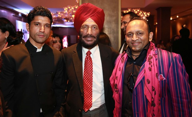 Farhan Akhtar, Milkha Singh and Deepak Kuntawala