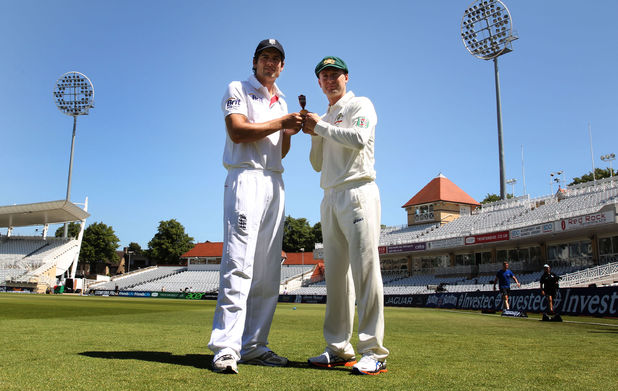 England captain Alastair Cook with Australia captain Michael Clarke holding the Ashes at Trent Bridge
