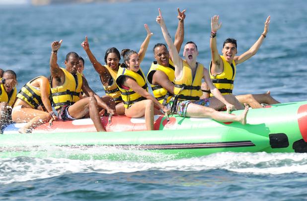 Tulisa Contostavlos, beach, Ibiza, banana boat, Gareth Varey,