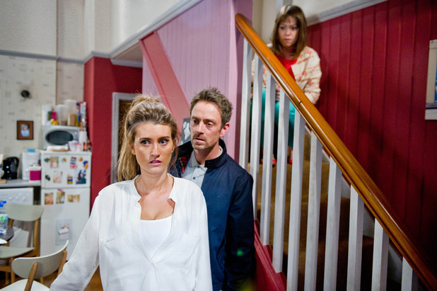 Gennie is shocked as Cameron makes a confession to an equally shocked and frightened Debbie.