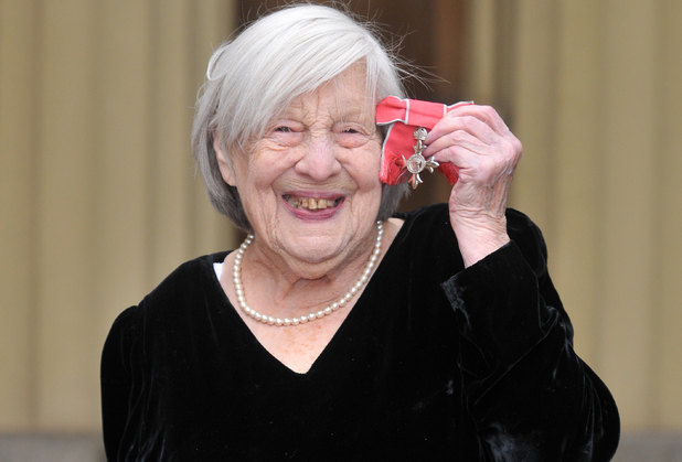 Anna Wing with her OBE for services to drama and to charity