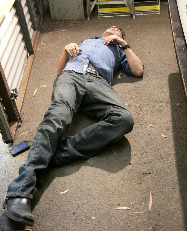 Lucas falls unconscious.