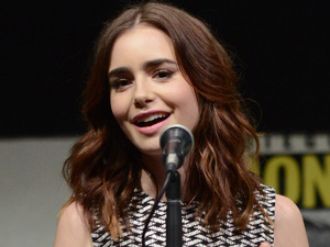 "Lily Collins attends the ""The Mortal Instruments: City of Bones"" panel"