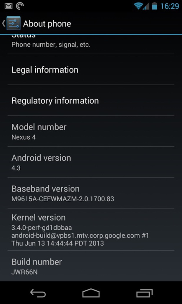 Screenshot of Android 4.3 running on a Nexus 4