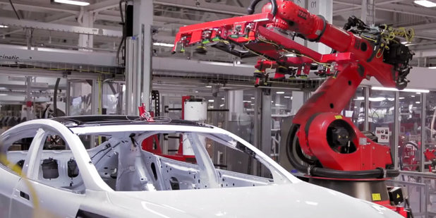 The Tesla Model S in production