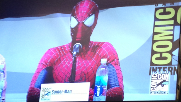 Andrew Garfield in character as Spider-Man at Comic-Con 2013.