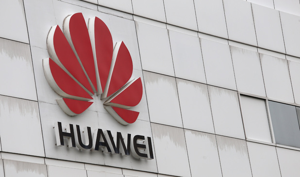 The logo of Chinese tech giant Huawei is seen on a building on its campus