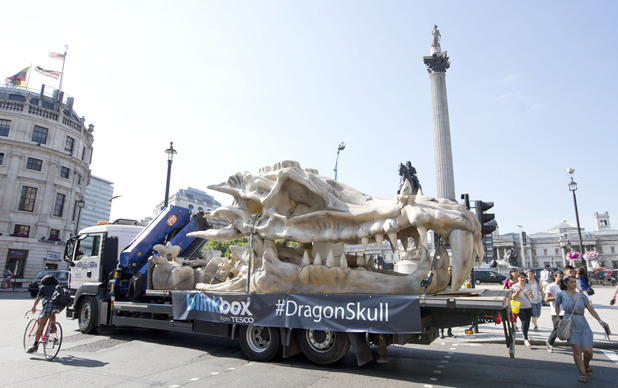 The 40ft dragon skull is transported across London for the blinkbox Game of Thrones screening at the Tower of London