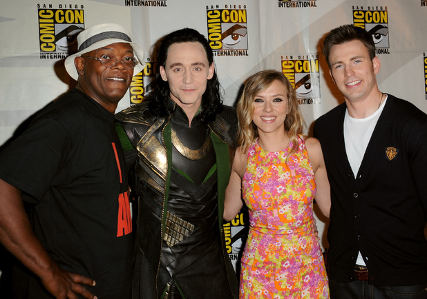 Samuel L. Jackson, Tom Hiddleston, Scarlett Johansson and Chris Evans