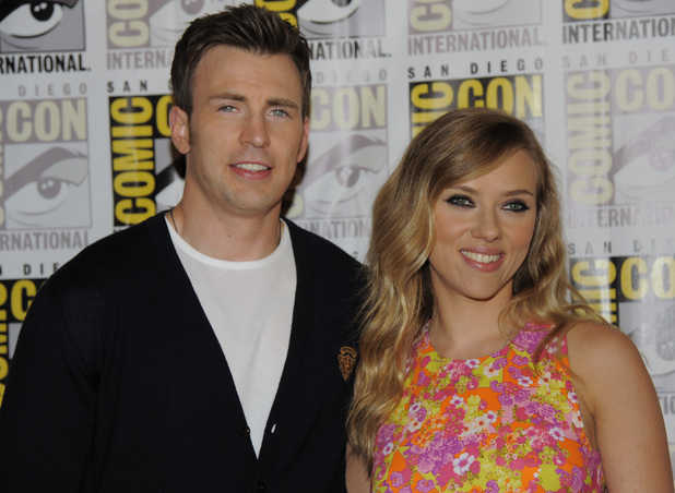 "Chris Evans and Scarlett Johansson attend the ""Captain America:The Winter Soldier"" press line"