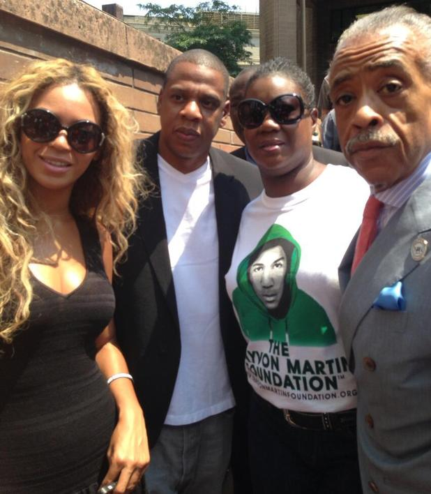 Beyonce and Jay Z with Sybrina Fulton and Rev Al