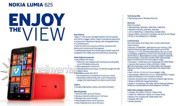 Nokia Lumia 625 specs leak