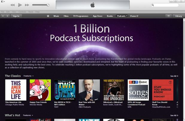 iTunes celebrates 1 billion Podcast subscriptions