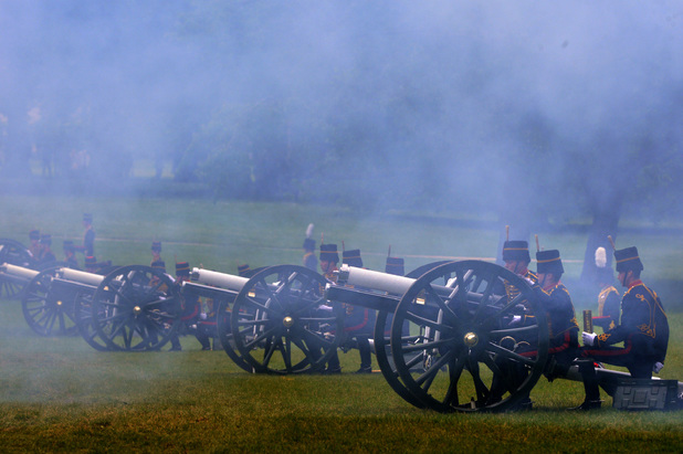 The King's Troop Royal Horse Artillery fire a 41 round Royal Salute in Green Park in central London